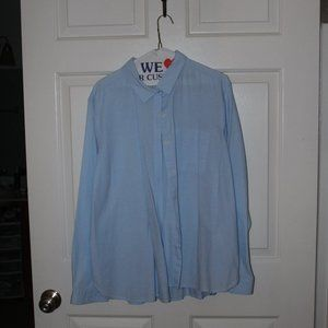 Women's ON Woven Sky Blue Button-down